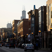 Wicker Park Neighborhood in Chicago at Milwaukee Avenue