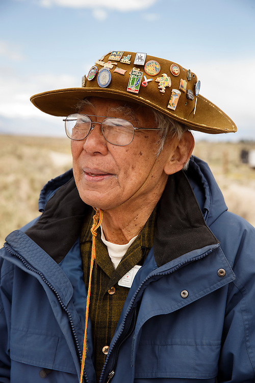 Takashi Hoshizaki poses for a portrait at the Manzanar National Historic Site during the 47th Annual Manzanar Pilgrimage on Saturday, April 30, 2016 in the Owens Valley of Inyo County, Calif. Now a National Historic Site, the Manzanar War Relocation Center was one of ten camps where Japanese American citizens and resident Japanese aliens were interned during World War II. Photo by Patrick T. Fallon / Special to the National Parks Conservation Association