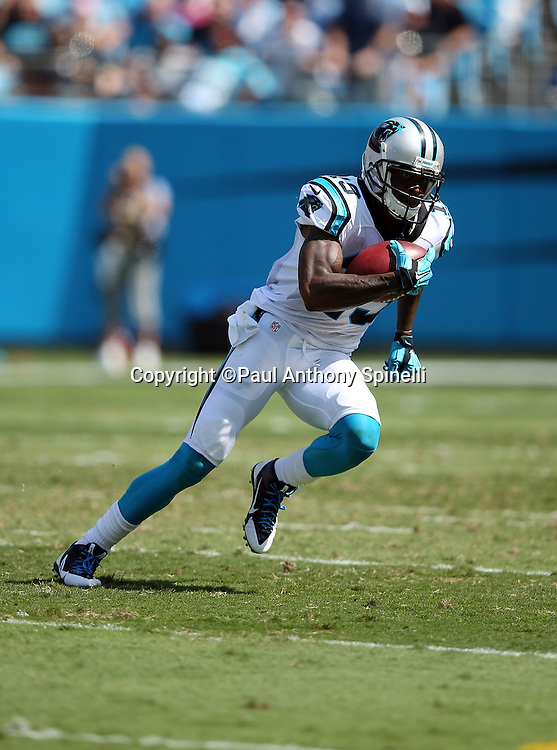 Carolina Panthers wide receiver and punt returner Ted Ginn, Jr. (19) returns a punt during the 2015 NFL week 2 regular season football game against the Houston Texans on Sunday, Sept. 20, 2015 in Charlotte, N.C. The Panthers won the game 24-17. (©Paul Anthony Spinelli)