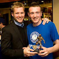 PSJ supporters club awards....<br /> Kevin Rutkiewicz receives player of the year award from Mike Rodgers<br /> Picture by Graeme Hart.<br /> Copyright Perthshire Picture Agency<br /> Tel: 01738 623350  Mobile: 07990 594431