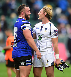 Tom Howe of Worcester Warriors and Will Stuart of Bath Rugby - Mandatory by-line: Alex James/JMP - 28/09/2019 - RUGBY - Recreation Ground - Bath, England - Bath Rugby v Worcester Warriors - Premiership Rugby Cup