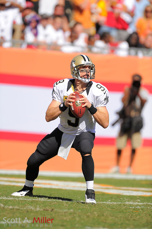 New Orleans Saints quarterback Drew Brees (9) in action against the Tampa Bay Buccaneers at Raymond James Stadium  on Oct. 14, 2012 in Tampa, Florida. The Saints won 35-28....©2012 Scott A. Miller...