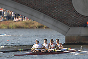 Boston, USA, Master Men's Fours,  Vesper BC, approaching the John Weeks Bridge during the Head of the Charles, Race Charles River,  Cambridge,  Massachusetts. Saturday  20/10/2007 [Mandatory Credit Peter Spurrier/Intersport Images]..... , Rowing Course; Charles River. Boston. USA