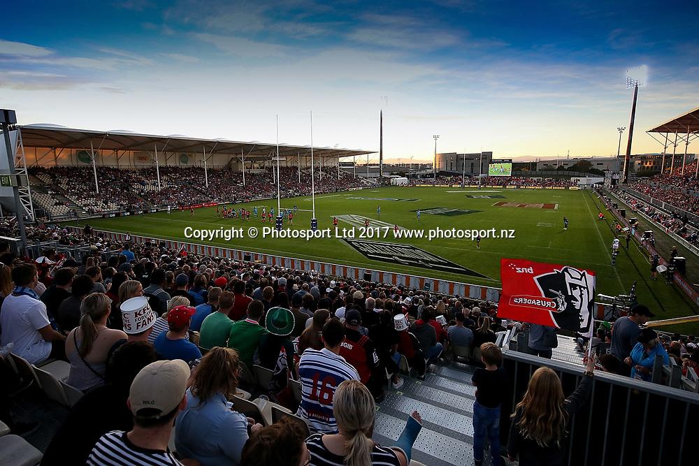General view of AMI Stadium. Super Rugby match, Blues v Crusaders at AMI Stadium, Christchurch, New Zealand. 17 March 2017 © Copyright Photo: Martin Hunter / www.photosport.nz