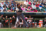 Alexi Casilla #12 of the Baltimore Orioles bats against the Minnesota Twins on May 12, 2013 at Target Field in Minneapolis, Minnesota.  The Orioles defeated the Twins 6 to 0.  Photo: Ben Krause