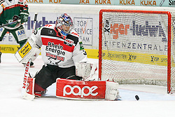12.12.2014, Curt Fenzel Stadion, Augsburg, GER, DEL, Augsburger Panther vs Koelner Haie, 26. Runde, im Bild Torwartaktion von Danny aus den Birken #33 (Koelner Haie) // during Germans DEL Icehockey League 26th round match between Augsburger Panther vs Koelner Haie at the Curt Fenzel Stadion in Augsburg, Germany on 2014/12/12. EXPA Pictures © 2014, PhotoCredit: EXPA/ Eibner-Pressefoto/ Kolbert<br /> <br /> *****ATTENTION - OUT of GER*****