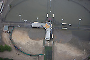 Aerial view of basball diamonds at City Park after the 2008 Iowa flood along the Mississippi River.