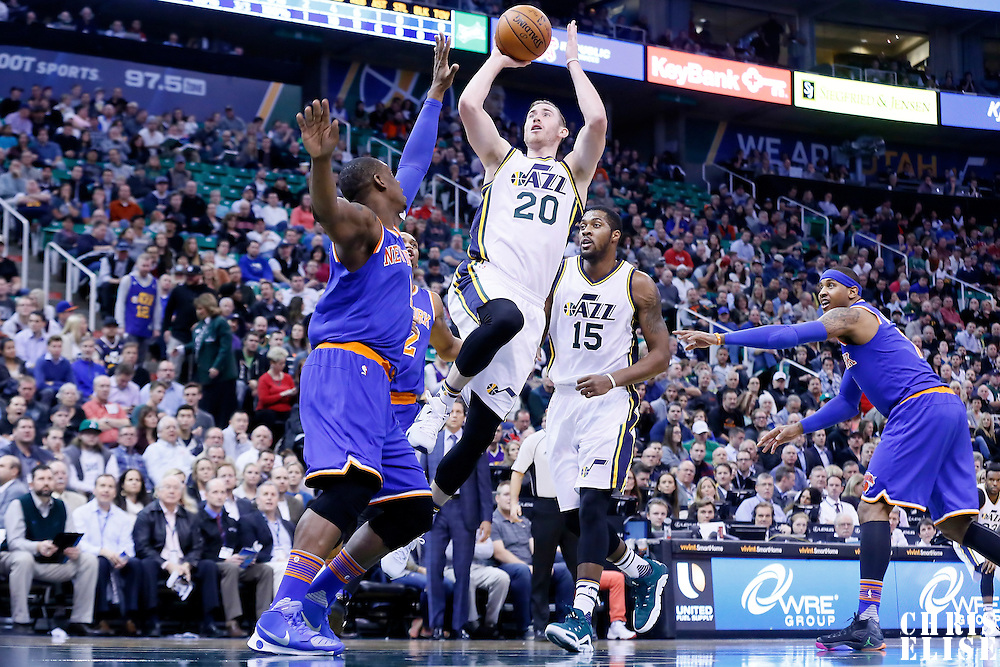 09 December 2015: Utah Jazz forward Gordon Hayward (20) goes for the jump shot over New York Knicks center Kevin Seraphin (1) during the Utah Jazz 106-85 victory over the New York Knicks, at the Vivint Smart Home Arena, Salt Lake City, Utah, USA.