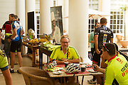 Cyclists enjoyed the charitable oppotunity to cycle with Phil Ligggett as part of the 2015 Cape Town Cycle Tour activities. Image by Greg Beadle