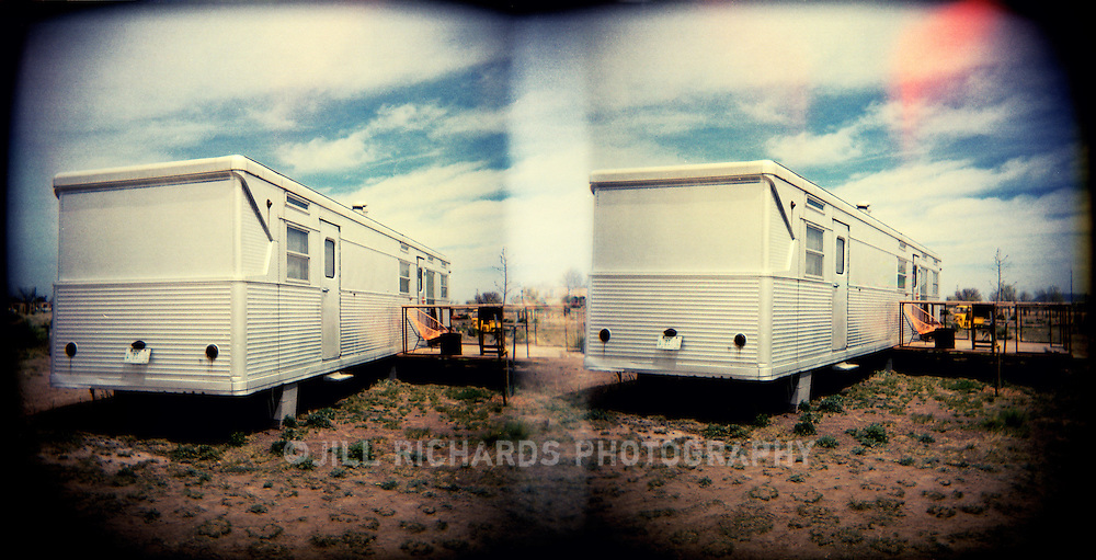 El Cosmico, created by Austin's Liz Lambert,  located in Marfa, Texas offers unique accommodations to travelers with its restored vintage trailers, bamboo-floored yurts and 22-ft diameter teepee. The communal bathhouse and kitchen make staying at El Cosmico an adventure. Photographed on film with a Holga camera.