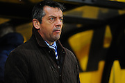 Southend boss Phil Brown looks horrified during the first half of the Sky Bet League 1 match between Port Vale and Southend United at Vale Park, Burslem, England on 26 February 2016. Photo by Mike Sheridan.