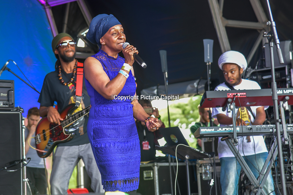 London, UK. 21th July, 2019. Royal Sounds feat. Dawn Penn performs at the Lambeth Country Show 2019 a peaceful family festival with live music food & drinks, Arts and Culture and animal show at Brockwell Park, London.