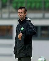 08/07/14 PRE-SEASON FRIENDLY<br /> LASK LINZ V CELTIC<br /> LINZER STADION - AUSTRIA<br /> Celtic manager Ronny Deila is all smiles in the dugout.