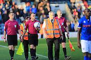 Mr Bankes referee at the final whistle with security during the EFL Sky Bet League 1 match between Rochdale and Bury at Spotland, Rochdale, England on 15 October 2016. Photo by Daniel Youngs.