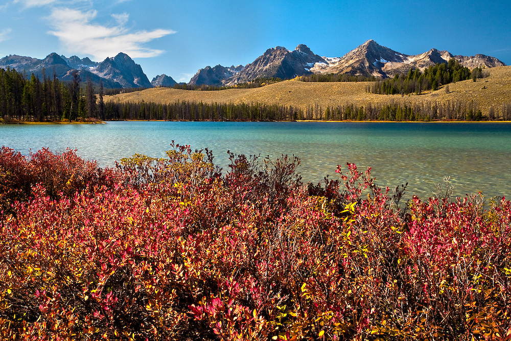Red foliage blends into Redfish Lake in the Sawtooth NRA, Idaho.
