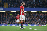 Daley Blind Midfielder of Manchester United argues a decision from linesman during the Premier League match between Chelsea and Manchester United at Stamford Bridge, London, England on 23 October 2016. Photo by Phil Duncan.
