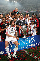 Athens, Greece - Wednesday, May 23, 2007: Italian Prime Minister Silvio Berlusconi celebrates with AC Milan's team, after winning 2-1 over Liverpool during the UEFA Champions League Final at the OACA Spyro Louis Olympic Stadium. (Pic by David Rawcliffe/Propaganda)