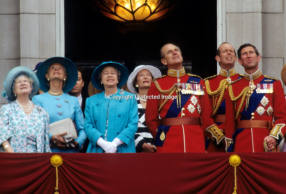 Queen Elizabeth ll and Prince Philip, Duke of Edinburgh are surrounded by family including The Queen Mother, the Duke and Duchess of Kent and Prince Charles, Prince of Wales as they stand on the balcony of Buckingham Palace following Trooping the Colour on June 14, 1993.