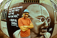 MC Yogi at Gandhi Mural, San Francisco