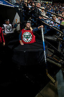 KELOWNA, CANADA - SEPTEMBER 28: A fan gets ready to play during intermission on September 28, 2016 at Prospera Place in Kelowna, British Columbia, Canada.  (Photo by Marissa Baecker/Shoot the Breeze)  *** Local Caption *** Fan