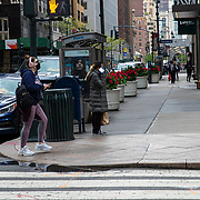 Manhattan streets remain virtually empty with closed businesses and limited traffic due to the Coronavirus (Covid-19) outbreak in New York City on Monday, May 11, 2020.  Nonessential businesses have been closed and large gatherings have been banned across the state since March 22 under an emergency order issued by Governor Cuomo that is set to expire on Friday. (Alex Menendez via AP)
