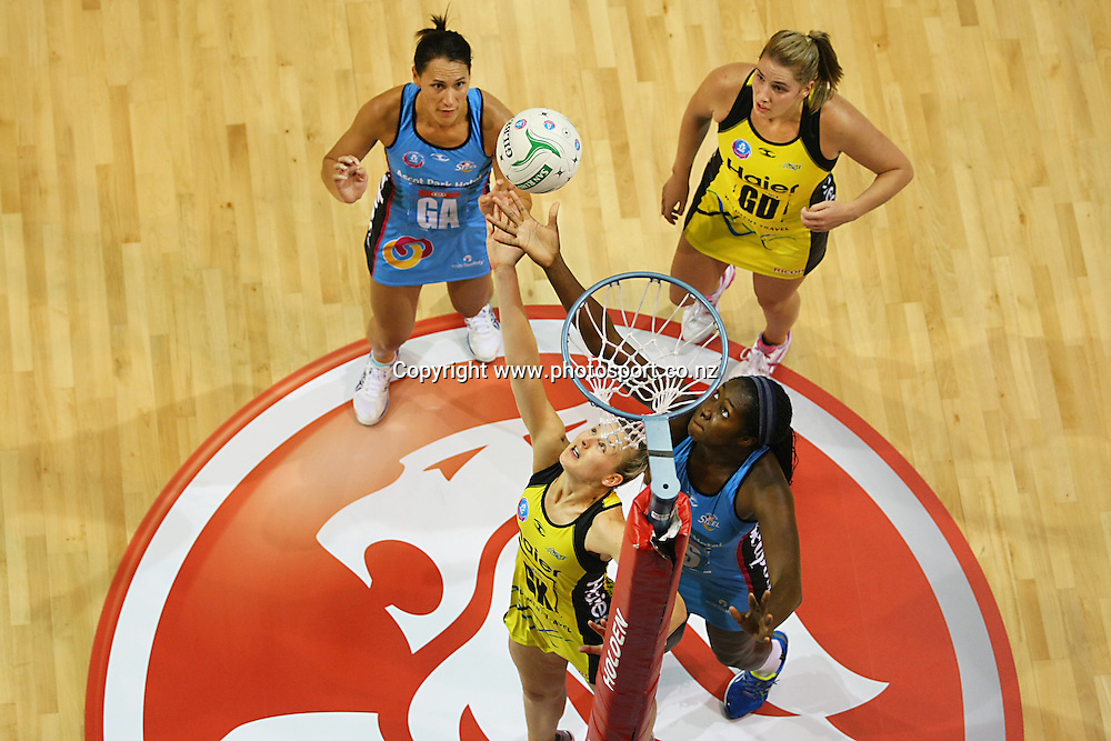 Pulse's Katrina Grant, left, and Steel's Jhaniele Fowelr- Reid compete for the ball in the ANZ championship netball match, Steel v Pulse, ILT Stadium Southland, Invercargill, New Zealand, Monday, April 14, 2014. Photo: Dianne Manson / photosport.co.nz