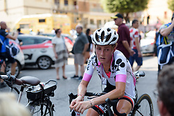 Floortje Mackaij recovers after a hot day on Stage 7 of the Giro Rosa - a 141.9 km road race, between Isernia and Baronissi on July 6, 2017, in Isernia, Italy. (Photo by Sean Robinson/Velofocus.com)