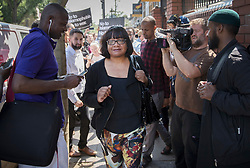 © Licensed to London News Pictures. 19/06/2017. London, UK. Labour Party Shadow Home Secretary Diane Abbott leaves Finsbury Park Mosque. Earlier a van ploughed into a crowd near Finsbury Park Mosque, as they finished taraweeh, Ramadan evening prayers. One person has been killed and 10 people are injured. Photo credit: Peter Macdiarmid/LNP