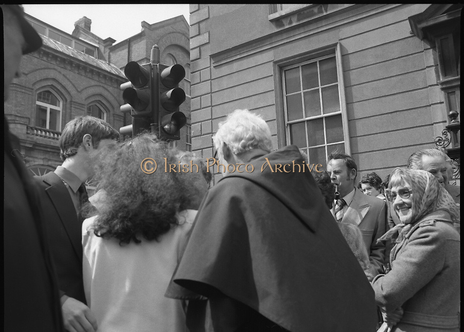 Sean Lemass 9th Anniversary Memorial Mass..1980-05-11.11th May 1980.11-05-1980.05-11-80..Photographed at the Carmelite Priory Whitefriar Street...A slightly obscured Taoiseach Charles Haughey TD, son in law of the late Sean Lemass..