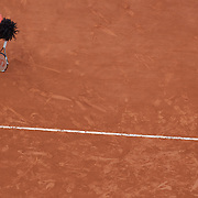 Serena Williams, USA, in action against Svetlana Kuznetsova, Russia, during the Women's Quarter Final match at the French Open Tennis Tournament at Roland Garros, Paris, France on Wednesday, June 3, 2009. Photo Tim Clayton.