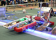 Hatboro Horsham's robot #708 plows into a another teams robots during the 2016 First Mid-Atlantic First Robotics Competition at Hatboro Horsham High School Saturday March 5, 2016 in Horsham, Pennsylvania. (Photo by William Thomas Cain)