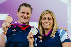 © Licensed to London News Pictures. 04/08/2012. London, UK. Gemma Gibbons and Karina Bryant of the Team GB Judo squad onstage at BT London Live, Hyde Park, to celebrate their medal winning success.  Gemma won the silver medal in the women's under-78kg's, and Karina won the Bronze in the women's over-78kg's.  Photo credit : Richard Isaac/LNP