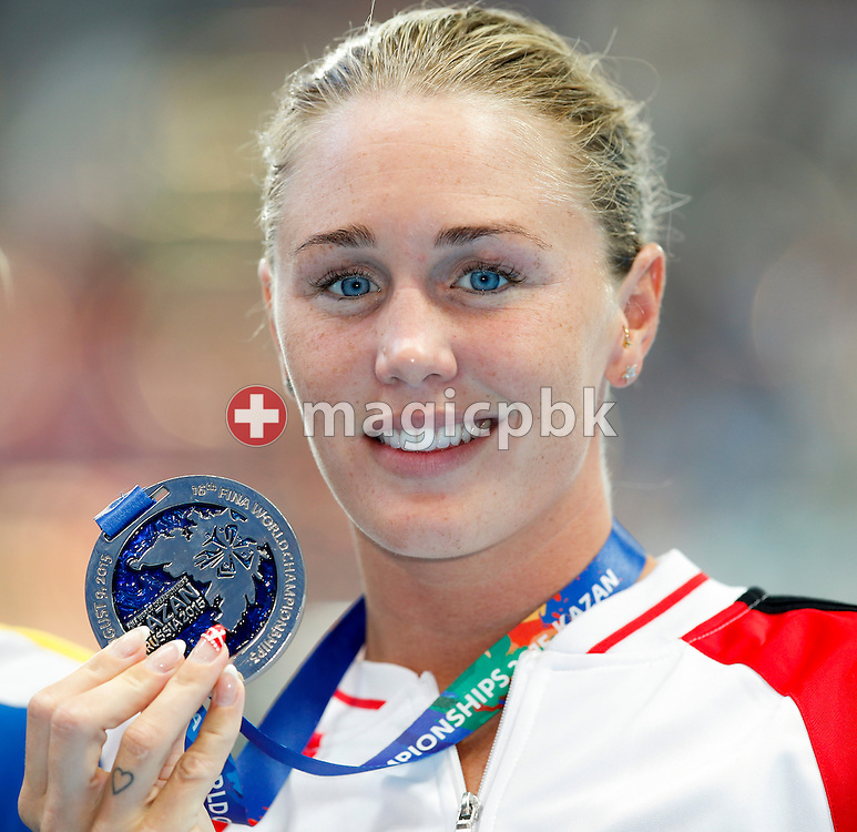 Jeanette Ottesen of Denmark poses with her Silver medal after finishing second in the women's 50m Butterfly Final during the 16th FINA World Swimming Championships held at the Kazan arena in Kazan, Russia, Saturday, Aug. 8, 2015. (Photo by Patrick B. Kraemer / MAGICPBK)