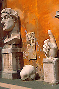 ITALY, ROME Capitoline Hill, Palazzo Conservato, fragments of a colossal 30' statue of Constantine the Great 313AD