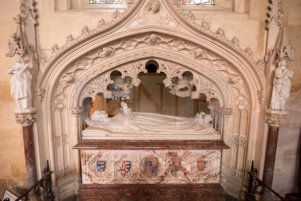 © Licensed to London News Pictures. 16/04/2018. Winchcombe, Gloucestershire, UK. Sudeley Castle's 'Royal Sudeley 1,000, Trials, Triumphs and Treasures'; the tomb of Katherine Parr, wife of Henry VIII, in the church at Sudeley. Treasures from Sudeley Castle's 1,000 year history have gone on show in a new exhibition. Called 'Royal Sudeley 1,000, Trials, Triumphs and Treasures', the newly refurbished exhibition includes a collection of priceless objects and curiosities. The exhibition includes a one-of-a-kind, life-size glass-engraved portrait of Katherine Parr by critically acclaimed artist, John Hutton. The artwork was re-discovered during the refurbishment of a holiday cottage on the estate, where it had been for decades. Its importance has now been realised and so it has been brought into the exhibition collection. Numerous items of historic significance are also on display, such as a lock of Katherine Parr's hair, her prayer book and an intricate lace christening canopy believed to have been worked on by Anne Boleyn for the christening of her daughter, Elizabeth I. Sudeley was a royal residence, closely associated with some of the most famous English monarchs, including Edward IV, Richard III, Henry VIII, Lady Jane Grey, Katherine Parr, Elizabeth I and Charles I. The Castle was even home to a secret Queen of England, Eleanor Boteler, whose royal status was unknown for centuries. Photo credit: Simon Chapman/LNP
