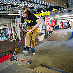 Staten Island, NY (Saturday, March 15, 2014): Spencer Lonergan, 12-year-old scooterer riding at the 5050 Skatepark, New York's only full-size indoor park for skateboarders, BMXers and scooterers and other mildly disaffected youth.