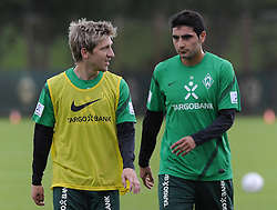 02.07.2011, Trainingsgelaende Werder Bremen, Bremen, GER, 1.FBL, Training Werder Bremen, im Bild Marko Marin (Bremen #10, links), Mehmet Ekici (Bremen #20, rechts)   // during training session from Werder Bremen 2011/07/02    EXPA Pictures © 2011, PhotoCredit: EXPA/ nph/  Frisch       ****** out of GER / CRO  / BEL ******