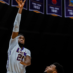 Jan 13, 2018; Baton Rouge, LA, USA; LSU Tigers forward Aaron Epps (21) shoots over Alabama Crimson Tide forward Braxton Key during the second half at the Pete Maravich Assembly Center. Alabama defeated LSU 74-66.  Mandatory Credit: Derick E. Hingle-USA TODAY Sports