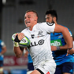 Curwin Bosch scores in extra time during the Super Rugby match between the Blues and Sharks at Eden Park in Auckland, New Zealand on Saturday, 31 March 2018. Photo: Dave Lintott / lintottphoto.co.nz