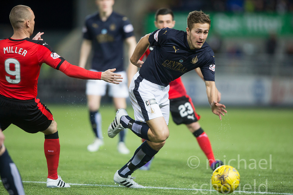 Rangers Miller and Falkirk's Will Vaulks. <br /> Falkirk 3 v 2 Rangers, Scottish Championship game player at The Falkirk Stadium, 18/3/2016.