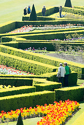 © Licensed to London News Pictures. 16/04/2014. Cliveden, UK. A couple look at  the Parterre with its vibrant floral displays.  People enjoy the sunshine at Cliveden in Buckinghamshire today 16th April 2014. Photo credit : Stephen Simpson/LNP
