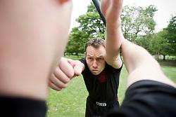Pro Defence Krav Maga IKMF Instructor Neil Walton goes through various Krav Maga technique's and moves in Kelvingrove Park, in Glasgow.