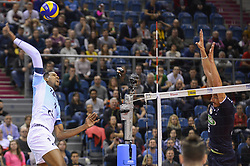 December 16, 2017 - Krakow, Poland - WILFREDO LEON VENERO of VC Zenit Kazan hits against NICOLAS URIARTE of Sada Cruzeiro Volei during the semi finals of Volleyball Mens Club World Championship at Tauron Arena. (Credit Image: © Omar Marques/SOPA via ZUMA Wire)