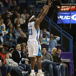 Jan 02, 2010; New Orleans, LA, USA; New Orleans Hornets guard Devin Brown (23) shoots against the Houston Rockets during the second quarter at the New Orleans Arena. Mandatory Credit: Derick E. Hingle-US PRESSWIRE