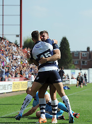 Bristol Winger Andy Short celebrates his try with Bristol Full Back Jack Wallace - Photo mandatory by-line: Joe Meredith/JMP - Mobile: 07966 386802 - 7/09/14 - SPORT - RUGBY - Bristol - Ashton Gate - Bristol Rugby v Worcester Warriors - The Rugby Championship