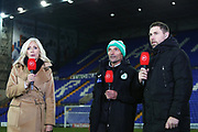 Miles Rutherford speaks with Grant Holt and Lynsey Hipgrave on BT Sport  after the The FA Cup match between Tranmere Rovers and Chichester City at Prenton Park, Birkenhead, England on 1 December 2019.