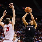 10 March 2018: San Diego State men's basketball takes on New Mexico in the Mountain West Conference championship game. The Aztecs beat the Lobos 82-75 to earn an automatic bid into the NCAA tournament starting Wednesday.<br /> More game action at www.sdsuaztecphotos.com
