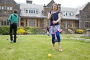 Playing croquet in the garden at Pickwell Manor. From left to right: Zac Baker (11), Millie-grace Elliott (8), Liza Baker (9). Pickwell Manor, Georgeham, North Devon, UK.<br /> CREDIT: Vanessa Berberian for The Wall Street Journal<br /> HOUSESHARE