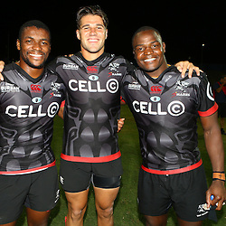 S'bura Sithole of the Cell C Sharks with Kobus van Wyk of the Cell C Sharks and Chiliboy Ralepelle of the Cell C Sharks during The Cell C Sharks Pre Season warm up game 2 Cell C Sharks A and Toyota Cheetahs A,at King Zwelithini Stadium, Umlazi, Durban, South Africa. Friday, 3rd February 2017 (Photo by Steve Haag)