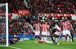 Jack Butland of Stoke City makes a save from Paul Pogba of Manchester United  - Mandatory by-line: Matt McNulty/JMP - 09/09/2017 - FOOTBALL - Bet365 Stadium - Stoke-on-Trent, England - Stoke City v Manchester United - Premier League